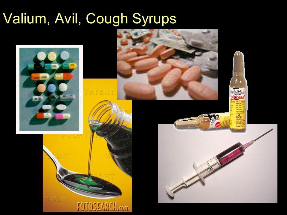 Valium, Avil, Cough Syrups