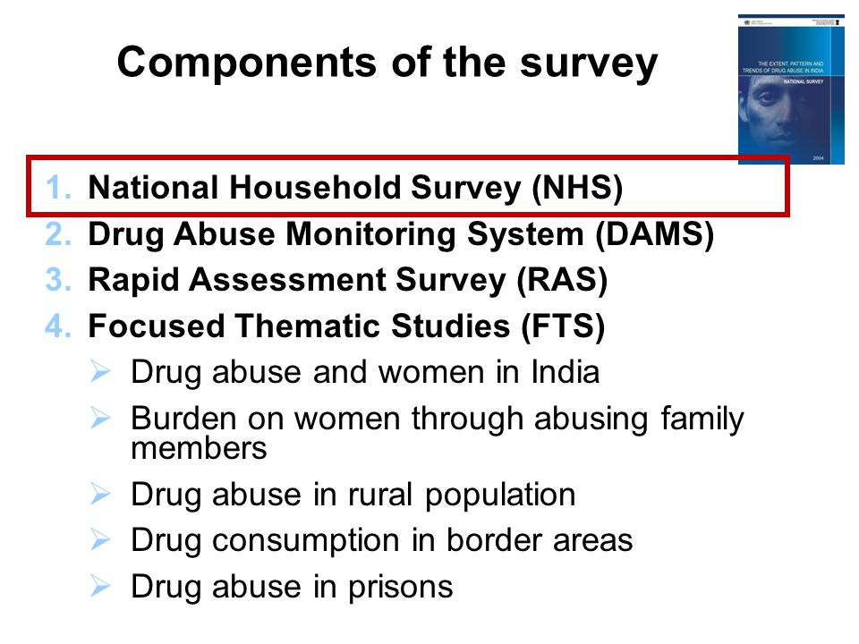 1.National Household Survey (NHS) 2.Drug Abuse Monitoring System (DAMS) 3.Rapid Assessment Survey (RAS) 4.Focused Thematic Studies (FTS)  Drug abuse and women in India  Burden on women through abusing family members  Drug abuse in rural population  Drug consumption in border areas  Drug abuse in prisons Components of the survey