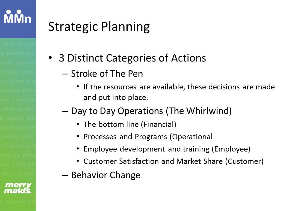 Strategic Planning 3 Distinct Categories of Actions – Stroke of The Pen If the resources are available, these decisions are made and put into place.