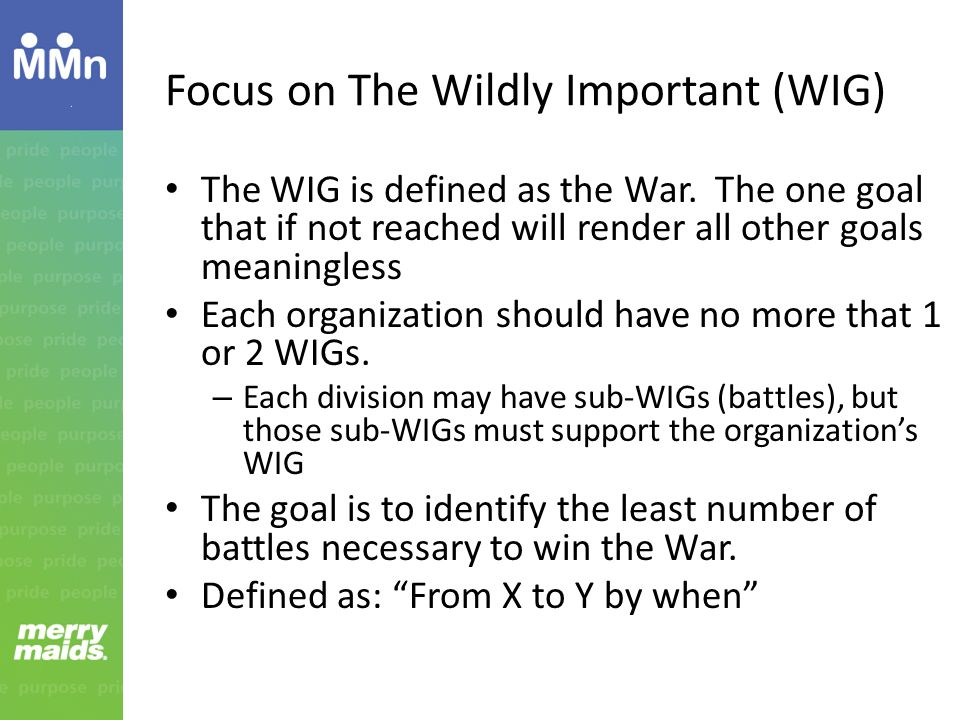 Focus on The Wildly Important (WIG) The WIG is defined as the War.