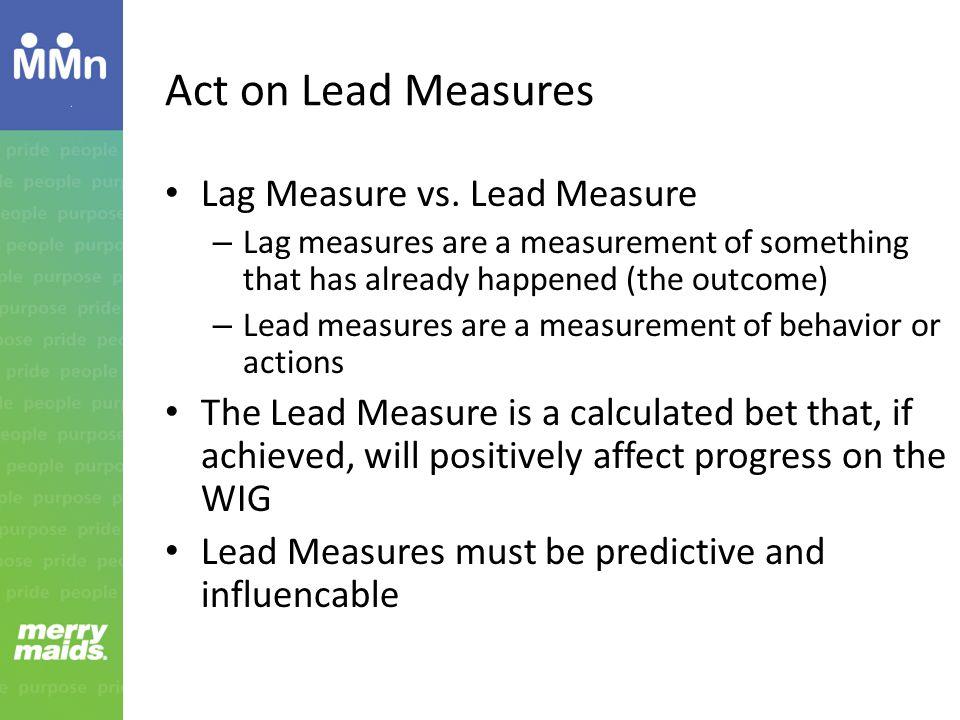 Act on Lead Measures Lag Measure vs.