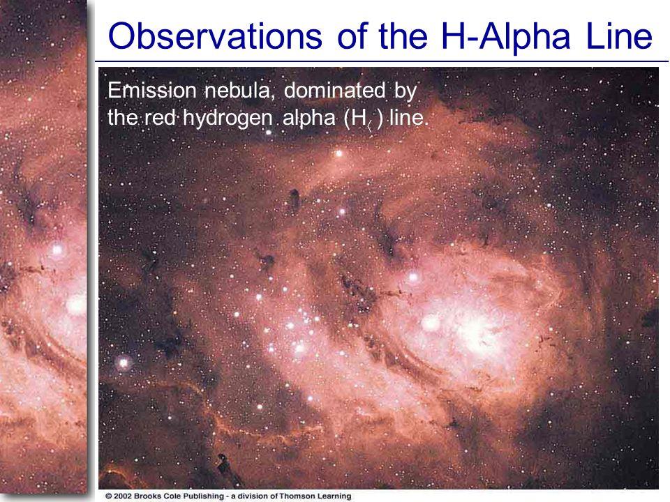 Observations of the H-Alpha Line Emission nebula, dominated by the red hydrogen alpha (H  ) line.