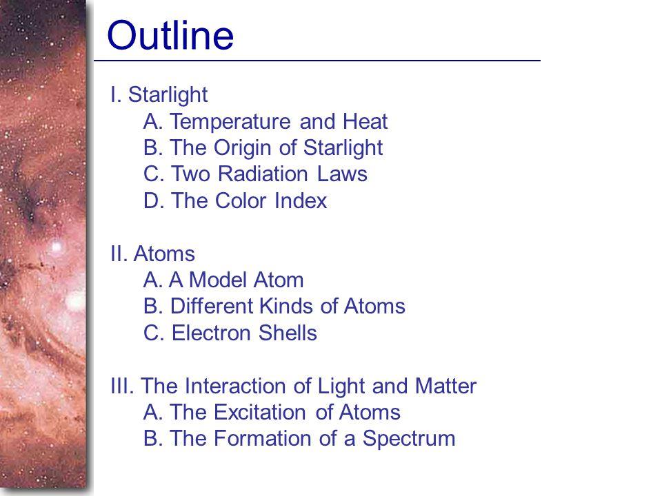 I.Starlight A. Temperature and Heat B. The Origin of Starlight C.