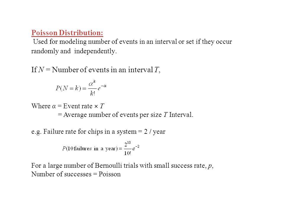 P( k hits in n attempts) = with α = np as n → ∞ and np is constant. e.g.