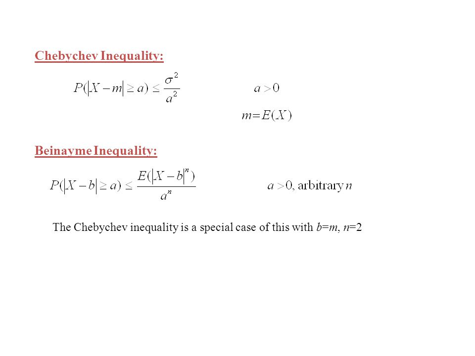 Chebychev Inequality: Beinayme Inequality: The Chebychev inequality is a special case of this with b=m, n=2