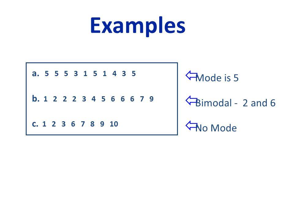 a. 5 5 5 3 1 5 1 4 3 5 b. 1 2 2 2 3 4 5 6 6 6 7 9 c.