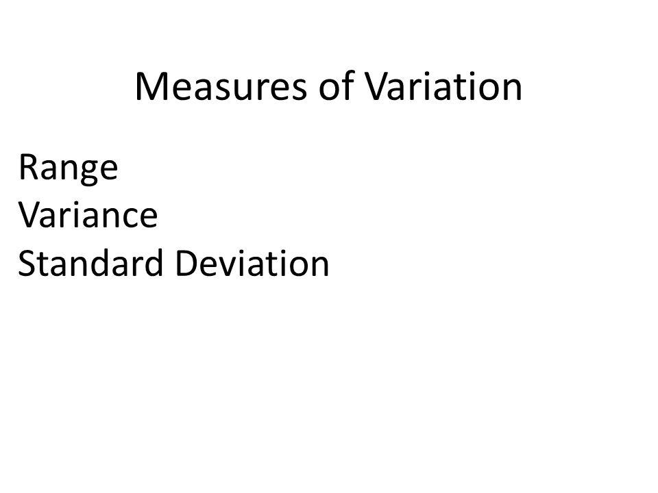Measures of Variation Range Variance Standard Deviation