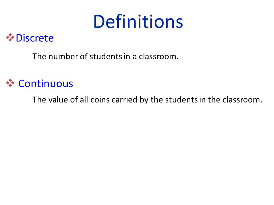  Discrete The number of students in a classroom.