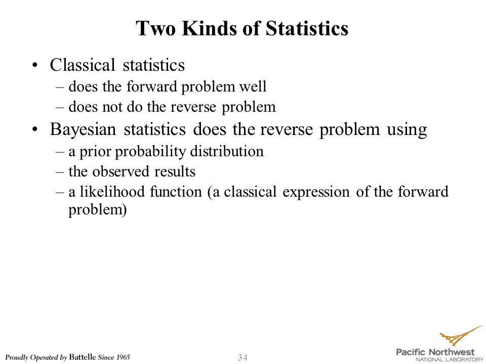 34 Two Kinds of Statistics Classical statistics –does the forward problem well –does not do the reverse problem Bayesian statistics does the reverse problem using –a prior probability distribution –the observed results –a likelihood function (a classical expression of the forward problem)