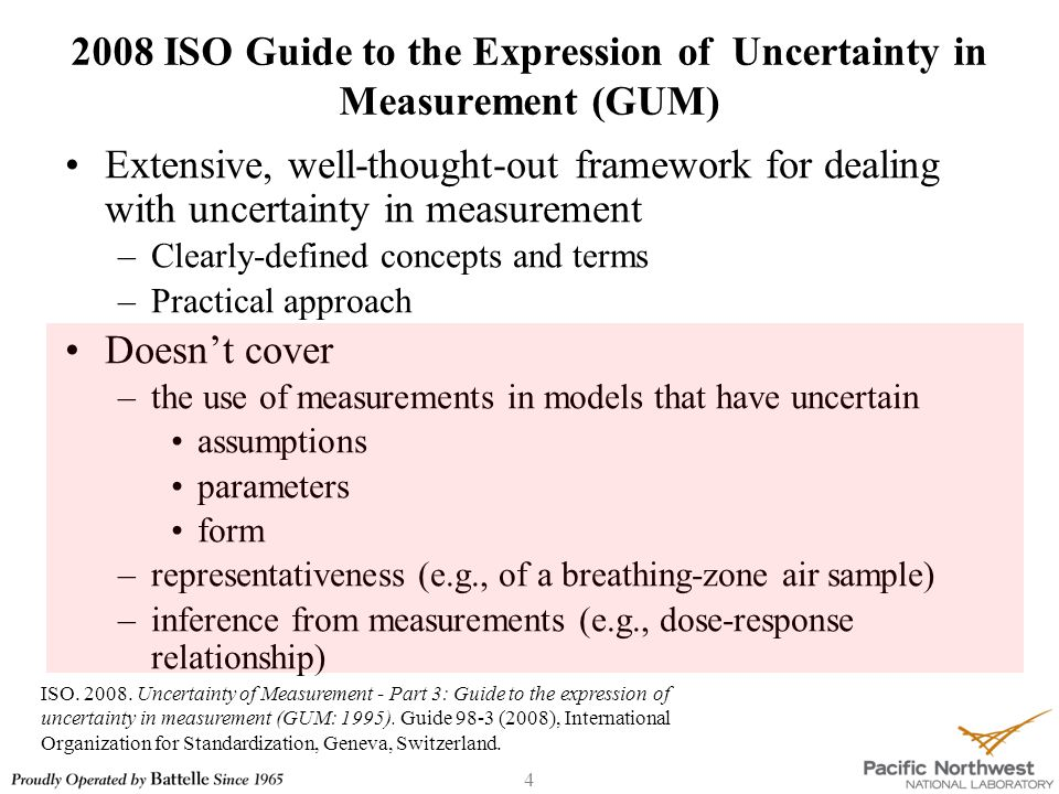 25 2008 ISO GUM Additional Terms & Concepts - 2 ISO-GUM TermMeaning combined standard uncertainty standard uncertainty of the result of a measurement when that result is obtained from the values of a number of other quantities, equal to the positive square root of a sum of terms, the terms being the variances of covariances of these other quantities weighted according to how the measurement result varies with changes in these quantities.