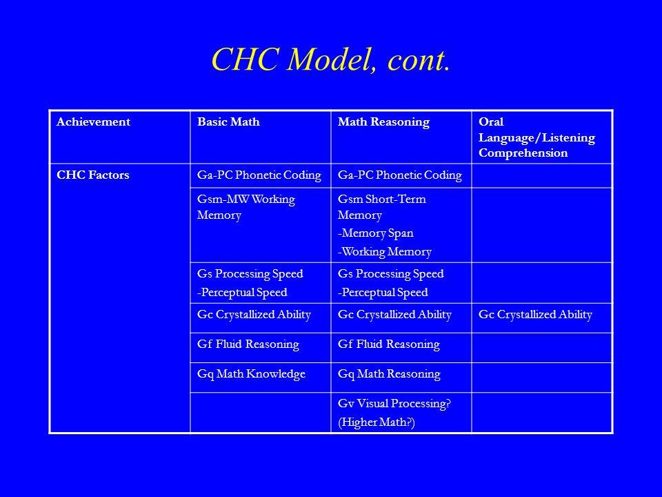 CHC Model, cont.