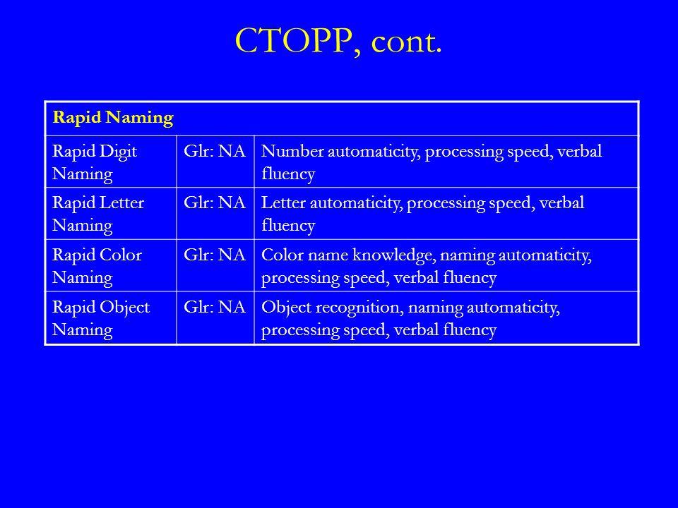 CTOPP, cont.