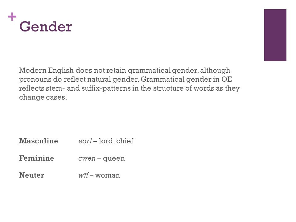 + Gender Modern English does not retain grammatical gender, although pronouns do reflect natural gender.