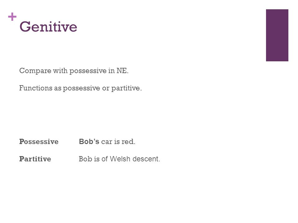 + Genitive Compare with possessive in NE. Functions as possessive or partitive.