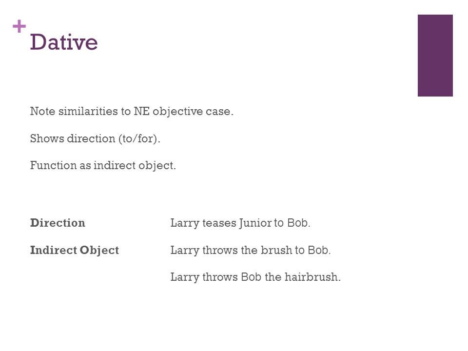 + Dative Note similarities to NE objective case. Shows direction (to/for).