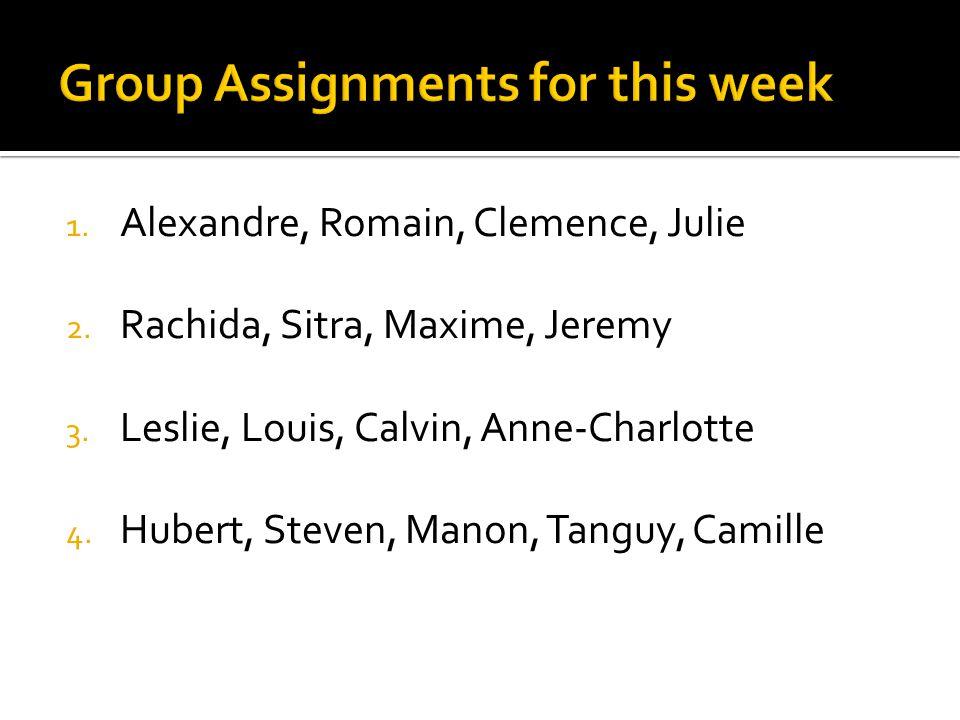 1. Alexandre, Romain, Clemence, Julie 2. Rachida, Sitra, Maxime, Jeremy 3.