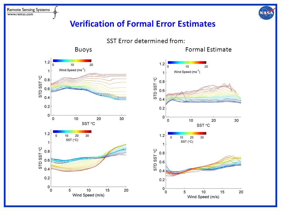 Verification of Formal Error Estimates SST Error determined from: Buoys Formal Estimate