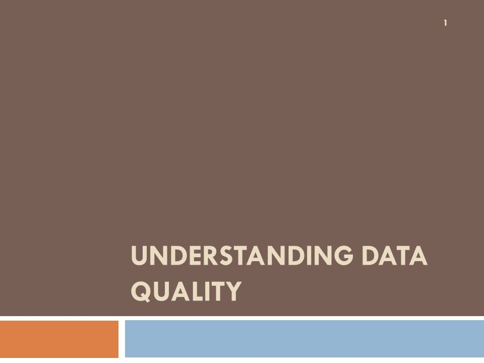 UNDERSTANDING DATA QUALITY 1