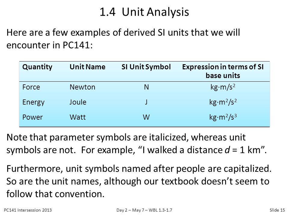 Here are a few examples of derived SI units that we will encounter in PC141: 1.4 Unit Analysis PC141 Intersession 2013Day 2 – May 7 – WBL 1.3-1.7Slide
