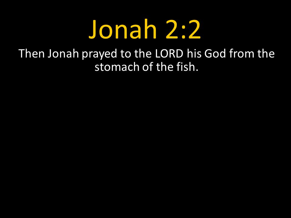 Jonah 2:2 Then Jonah prayed to the LORD his God from the stomach of the fish.