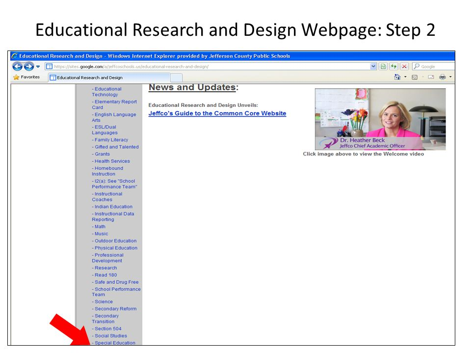 Educational Research and Design Webpage: Step 2