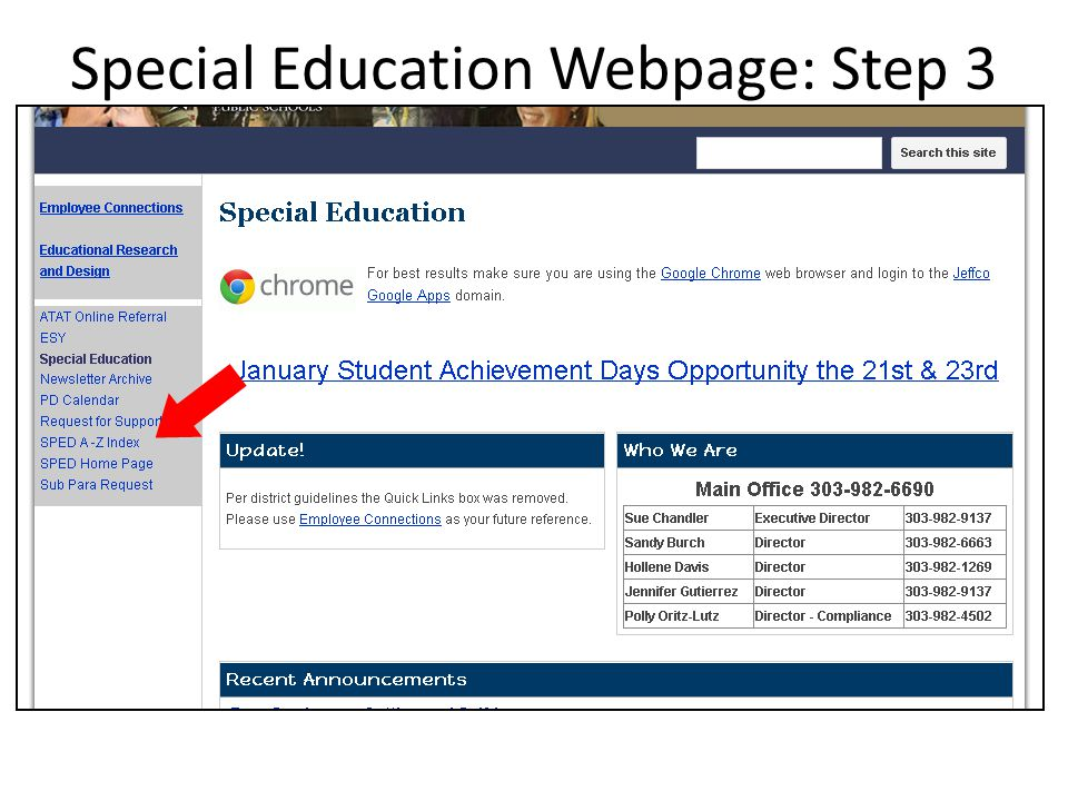 Special Education Webpage: Step 3
