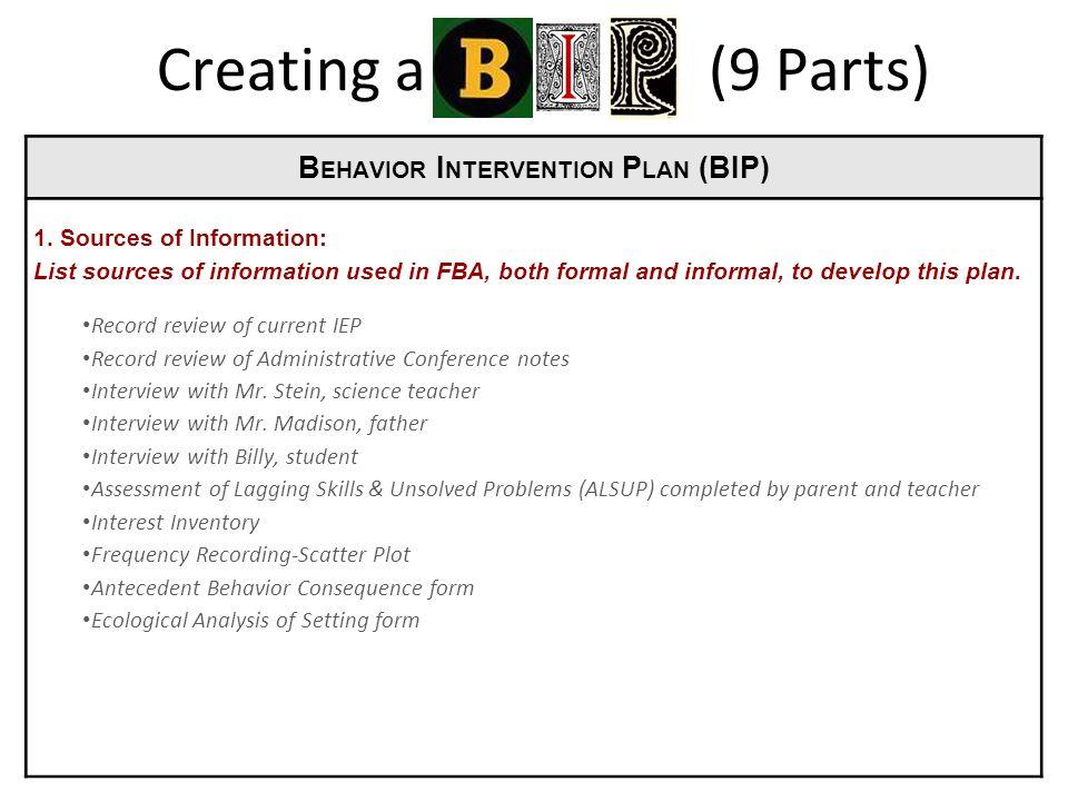 B EHAVIOR I NTERVENTION P LAN (BIP) 1.