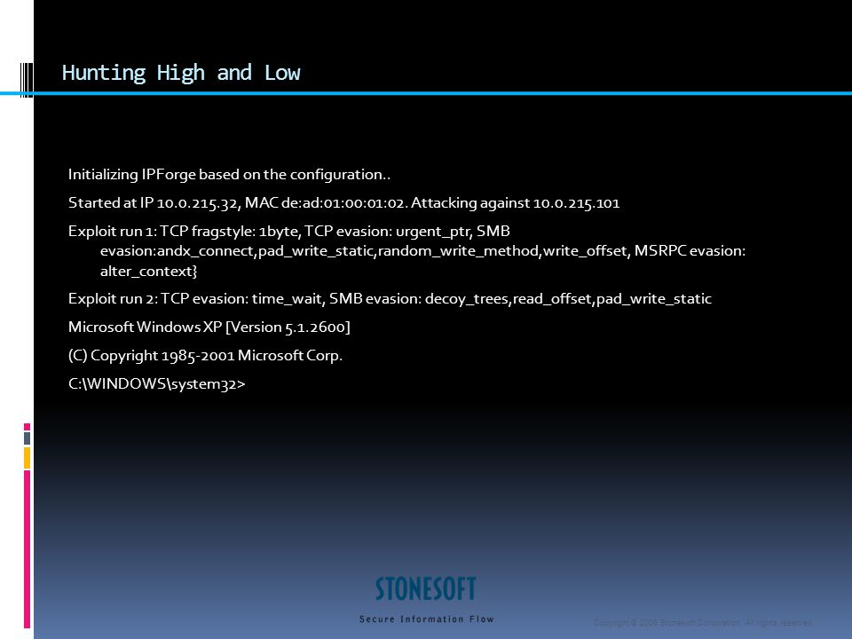 Copyright © 2009 Stonesoft Corporation. All rights reserved. Hunting High and Low Initializing IPForge based on the configuration.. Started at IP 10.0