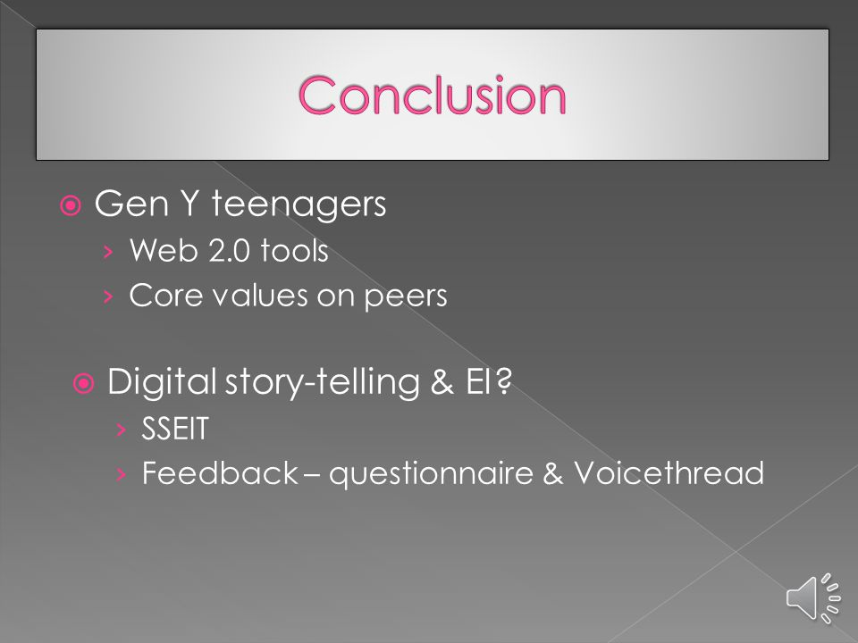  Class 3 (watched public & peer digital stories & commented)  Effects marred by poor editing skills but generally positive  EI tests: became increasingly aware feelings of self & others  Class 4 (made own digital stories & commented)  Huge emotional changes – positive (moviemaking) & negative (groupwork)  EI tests: responded in a very deep way