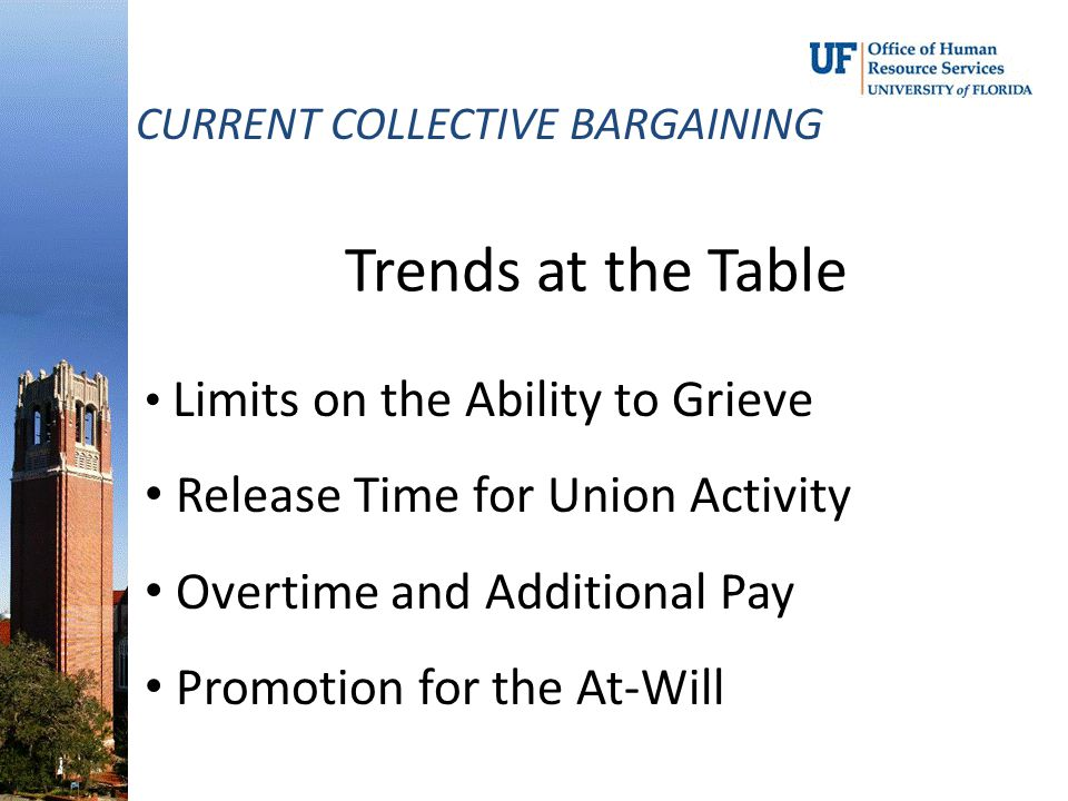 Trends at the Table CURRENT COLLECTIVE BARGAINING Limits on the Ability to Grieve Release Time for Union Activity Overtime and Additional Pay Promotio