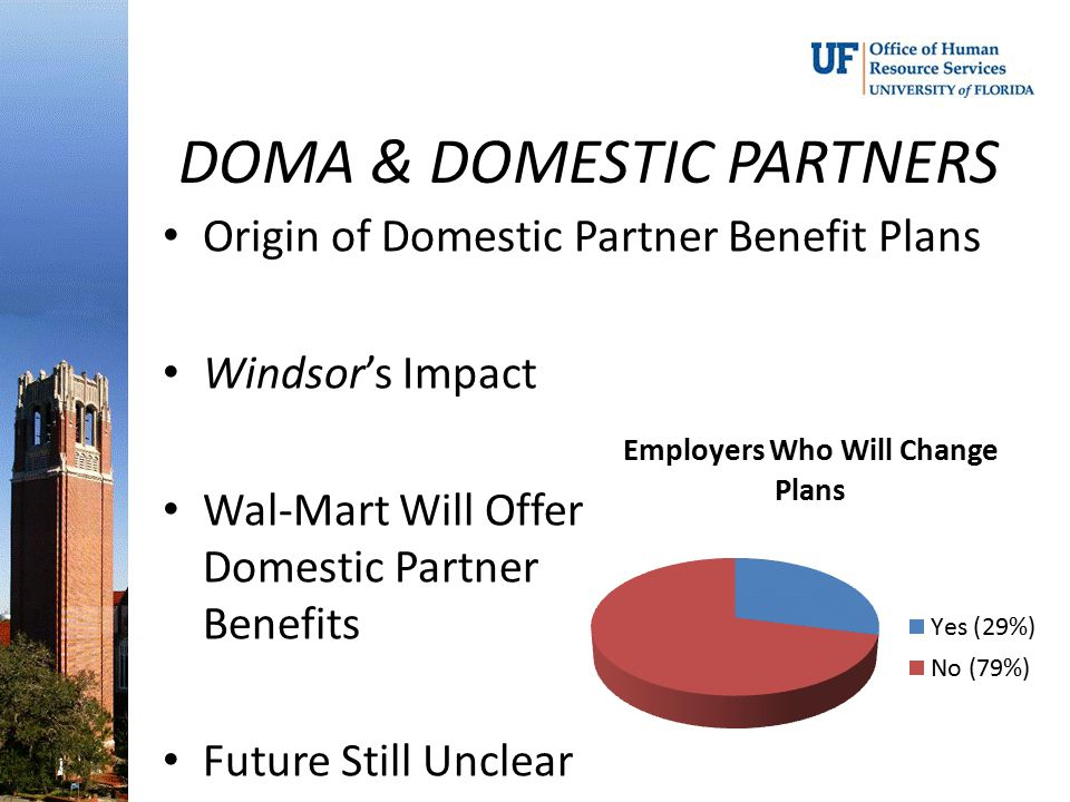 DOMA & DOMESTIC PARTNERS Origin of Domestic Partner Benefit Plans Windsor's Impact Wal-Mart Will Offer Domestic Partner Benefits Future Still Unclear