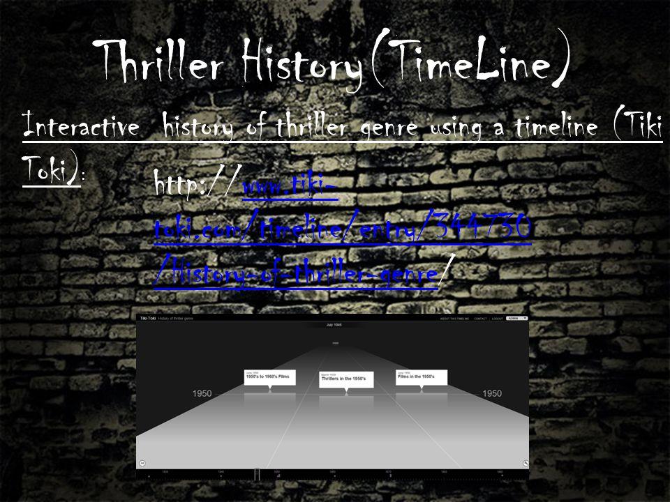 Thriller History(TimeLine) http://www.tiki- toki.com/timeline/entry/344730 /History-of-thriller-genre/www.tiki- toki.com/timeline/entry/344730 /History-of-thriller-genre Interactive history of thriller genre using a timeline (Tiki Toki) :