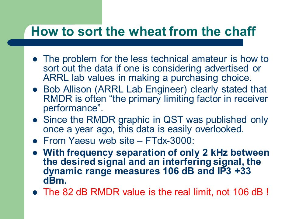 How to sort the wheat from the chaff The problem for the less technical amateur is how to sort out the data if one is considering advertised or ARRL lab values in making a purchasing choice.