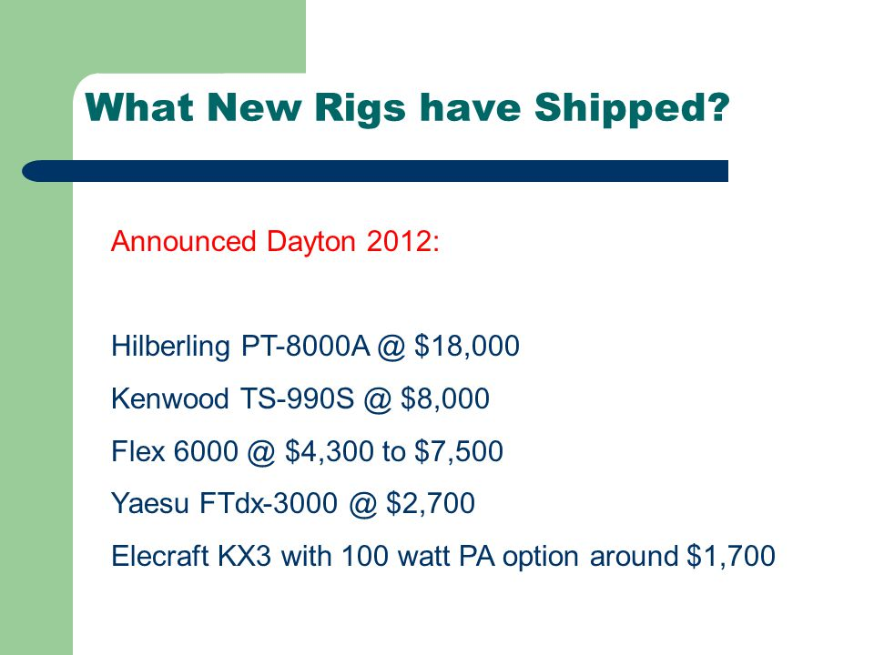 What New Rigs have Shipped.