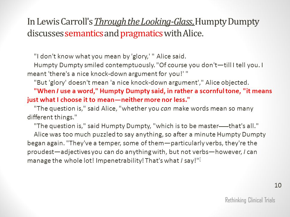 In Lewis Carroll s Through the Looking-Glass, Humpty Dumpty discusses semantics and pragmatics with Alice.