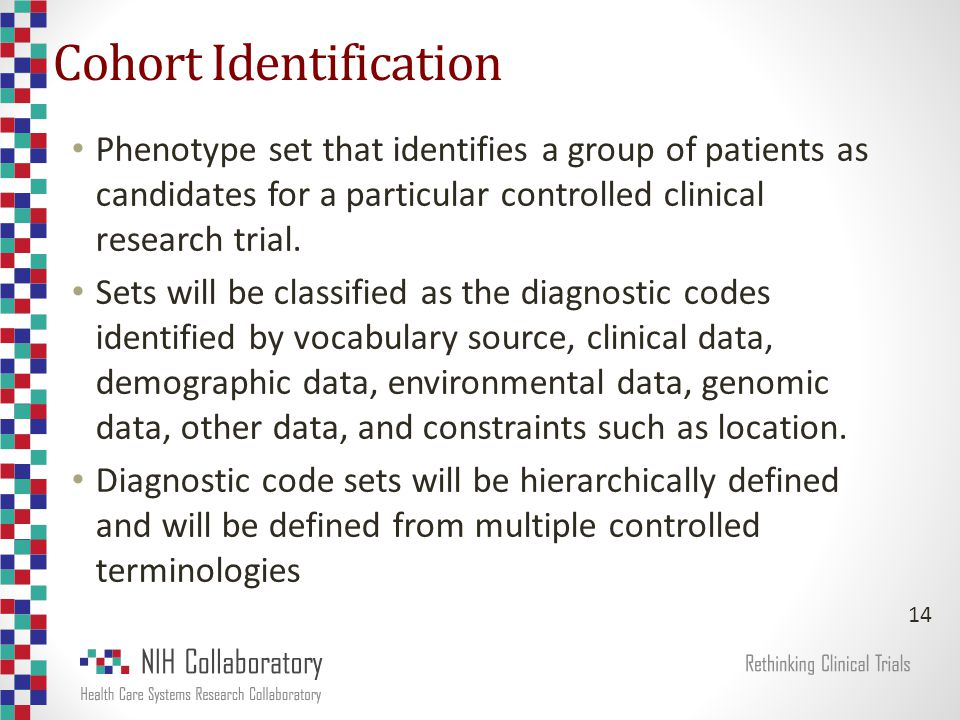 Cohort Identification Phenotype set that identifies a group of patients as candidates for a particular controlled clinical research trial.