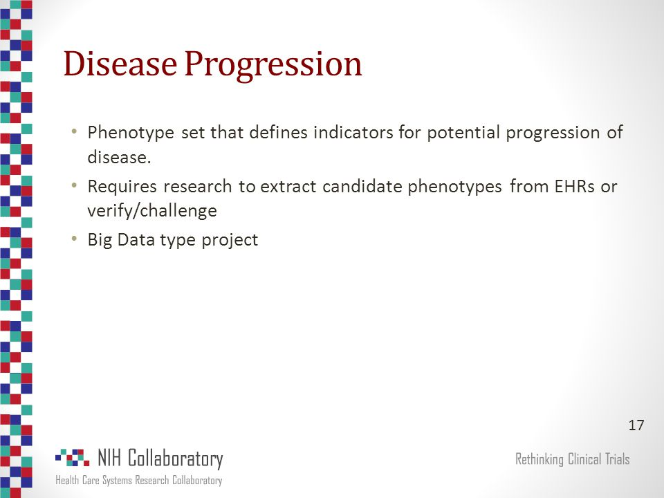 Disease Progression Phenotype set that defines indicators for potential progression of disease.