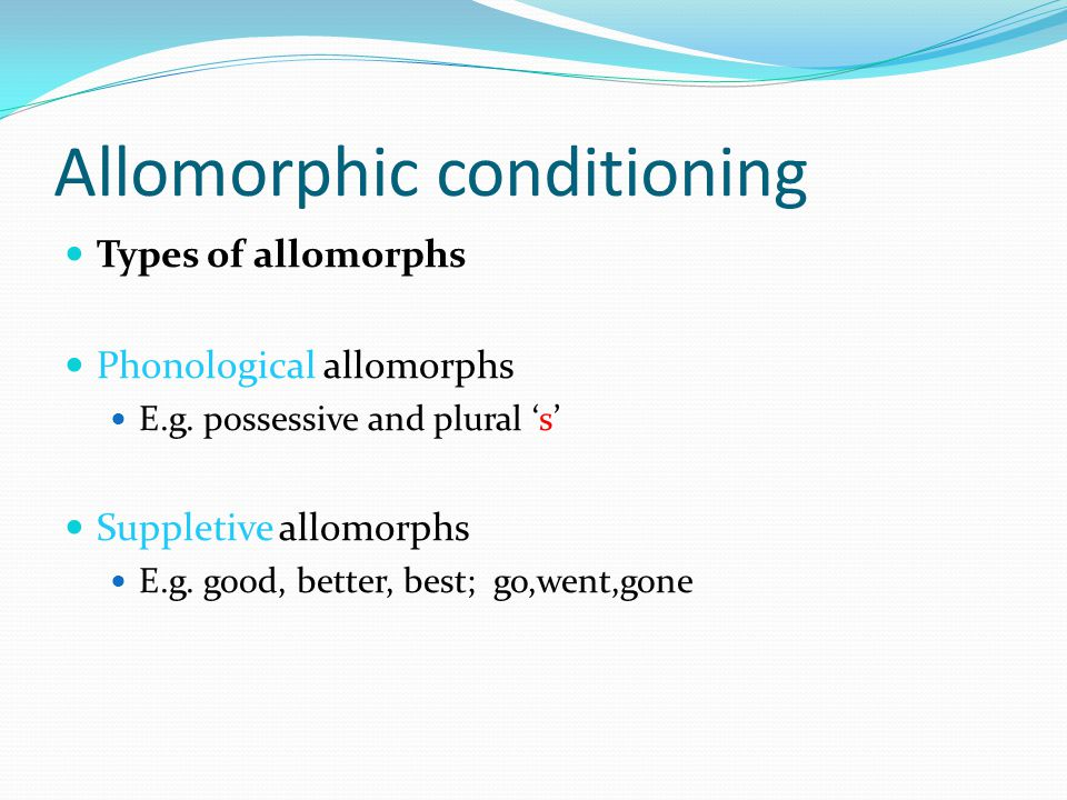 Allomorphic conditioning Types of allomorphs Phonological allomorphs E.g.