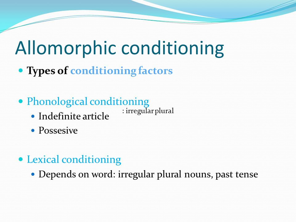 Allomorphic conditioning Types of conditioning factors Phonological conditioning Indefinite article Possesive Lexical conditioning Depends on word: irregular plural nouns, past tense : irregular plural