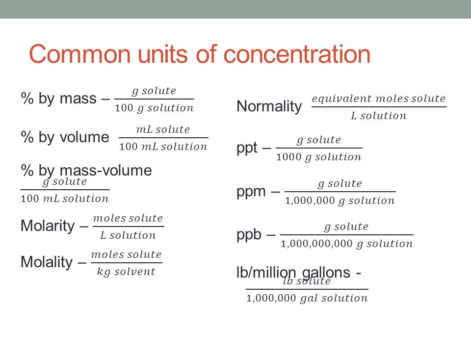Common units of concentration