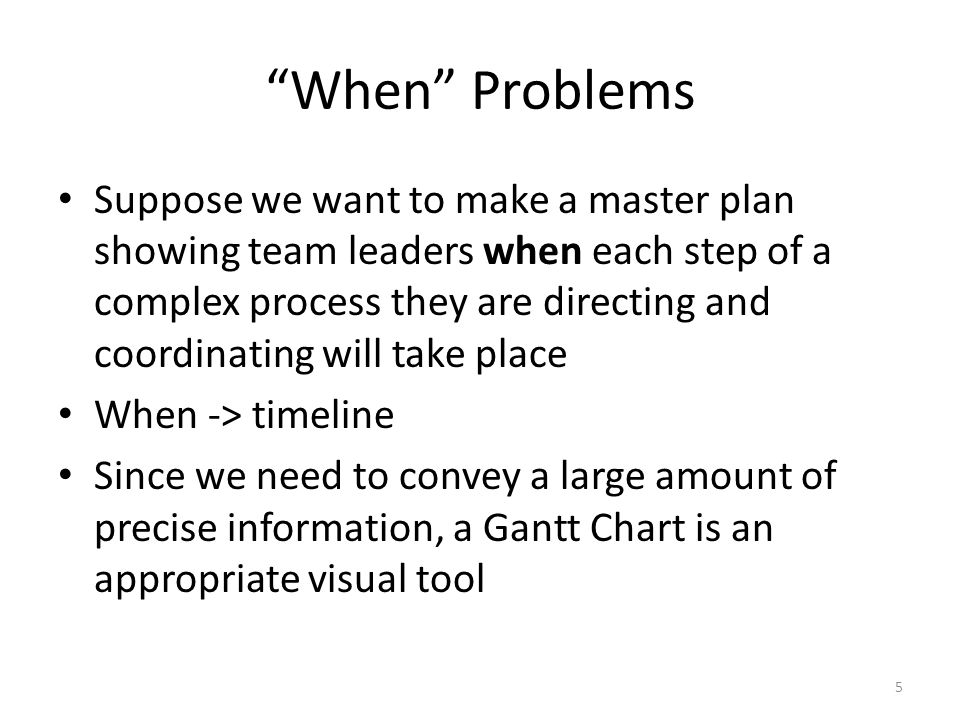 """When"" Problems Suppose we want to make a master plan showing team leaders when each step of a complex process they are directing and coordinating wil"