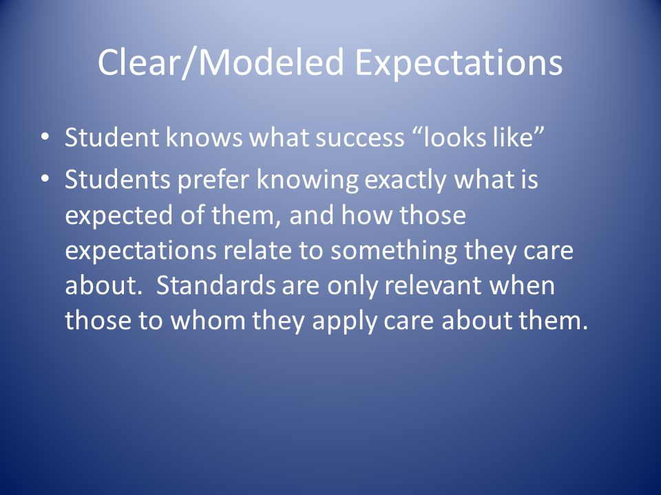 Clear/Modeled Expectations Student knows what success looks like Students prefer knowing exactly what is expected of them, and how those expectations relate to something they care about.