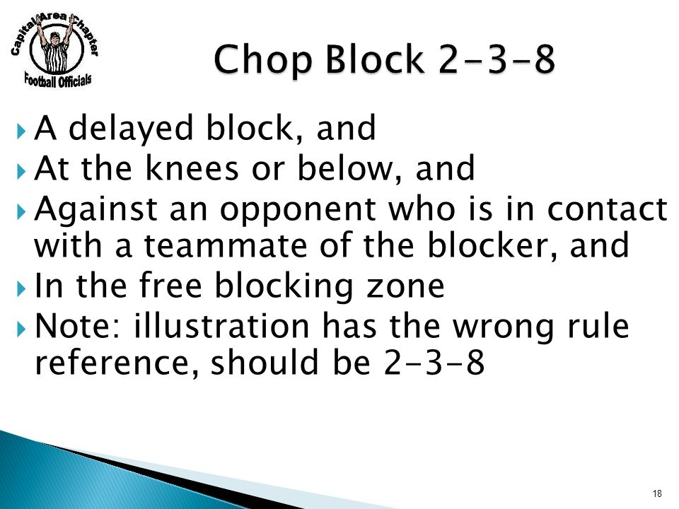  A delayed block, and  At the knees or below, and  Against an opponent who is in contact with a teammate of the blocker, and  In the free blocking zone  Note: illustration has the wrong rule reference, should be 2-3-8 18