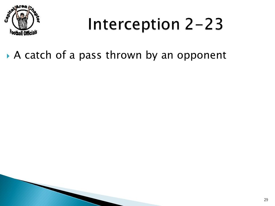  A catch of a pass thrown by an opponent 29