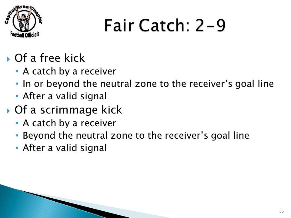  Of a free kick A catch by a receiver In or beyond the neutral zone to the receiver's goal line After a valid signal  Of a scrimmage kick A catch by a receiver Beyond the neutral zone to the receiver's goal line After a valid signal 35