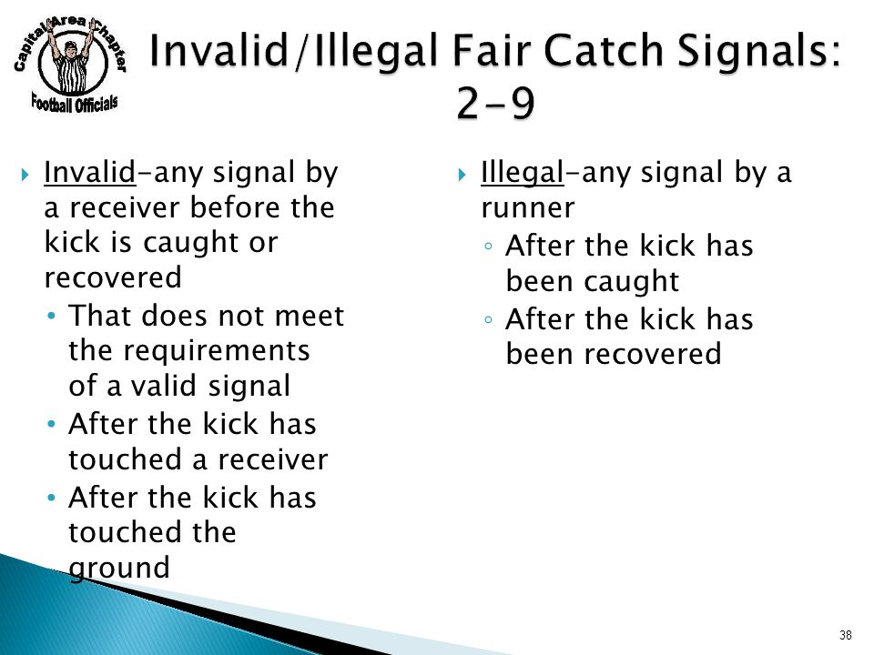 38  Invalid-any signal by a receiver before the kick is caught or recovered That does not meet the requirements of a valid signal After the kick has touched a receiver After the kick has touched the ground  Illegal-any signal by a runner ◦ After the kick has been caught ◦ After the kick has been recovered