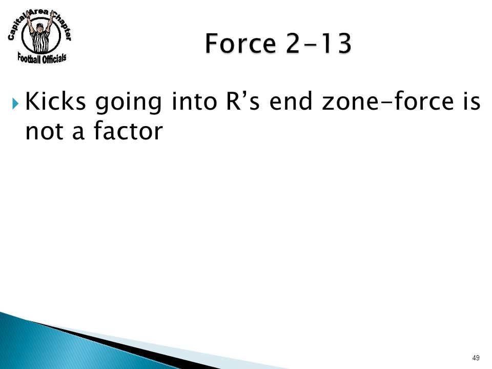 Kicks going into R's end zone-force is not a factor 49
