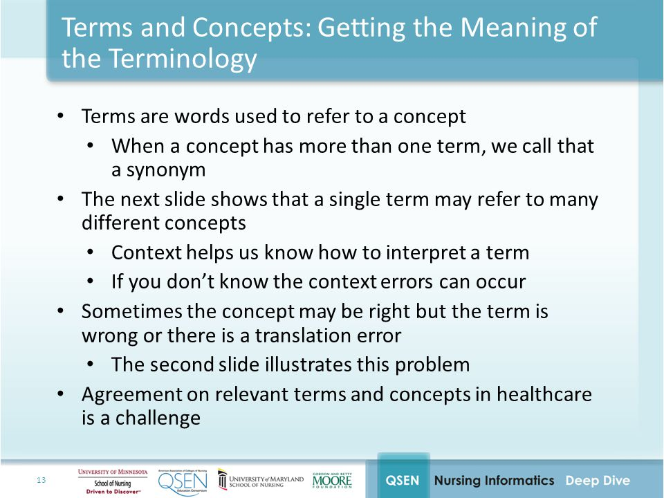 13 Terms and Concepts: Getting the Meaning of the Terminology Terms are words used to refer to a concept When a concept has more than one term, we call that a synonym The next slide shows that a single term may refer to many different concepts Context helps us know how to interpret a term If you don't know the context errors can occur Sometimes the concept may be right but the term is wrong or there is a translation error The second slide illustrates this problem Agreement on relevant terms and concepts in healthcare is a challenge