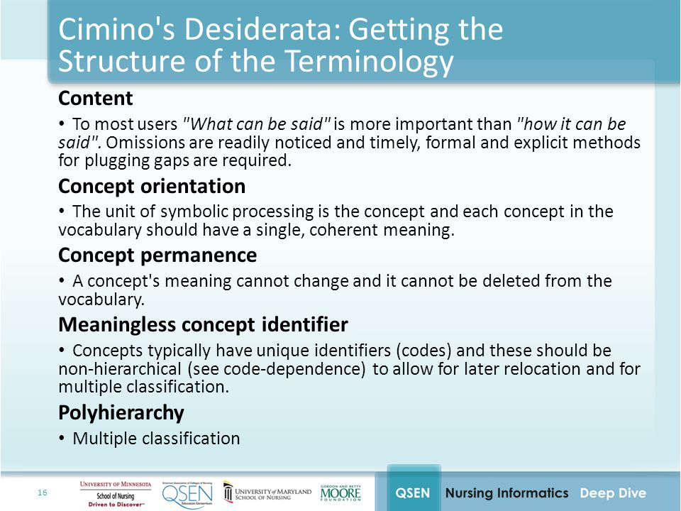 16 Cimino s Desiderata: Getting the Structure of the Terminology Content To most users What can be said is more important than how it can be said .