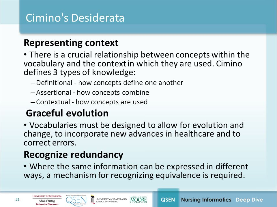 18 Cimino s Desiderata Representing context There is a crucial relationship between concepts within the vocabulary and the context in which they are used.